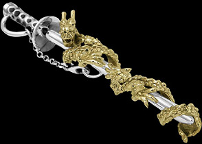 Gothic Jewelry - .925 Sterling Silver Japanese Samurai Sword with 10K Gold Dragon Pendants P587