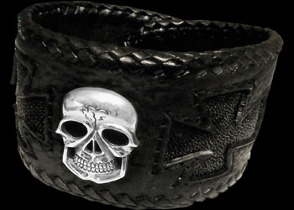 Gothic Jewelry - .925 Sterling Silver Skull Shark Leather and Inlaid Stingray Leather Bracelets BC279