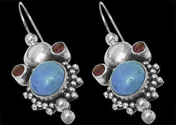 Garnet Turquoise and Sterling Silver Earrings E310
