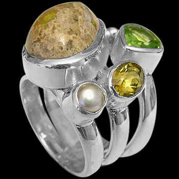Mother's Day Jewelry Gift - Mexican Opal Peridot Citrine Pearl and Sterling Silver Ring MR-1112