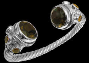 Anniversary Jewelry Gift - Smokey Quartz Citrine and  Sterling Silver Cable Bracelets B500