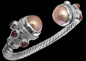 Anniversary Jewelry Gift - Pink Pearl Cabochon Garnet and Sterling Silver Cable Bracelets B500