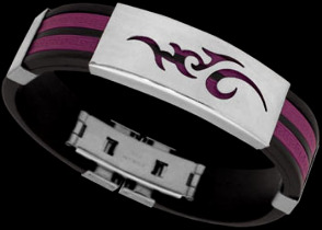 Men's Jewellery - Purple Resin, Stainless Steel Bracelets ST232