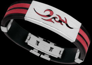 Men's Jewellery - Red Resin, Stainless Steel Bracelets ST234