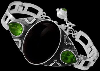 Onyx Peridot and Sterling Silver Bracelet MBB01onpr