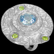 Anniversary Jewelry Gift - Topaz Peridot and Sterling Silver Ring RV195