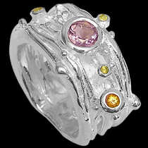 Amethyst Citrine and Sterling Silver Ring RV266
