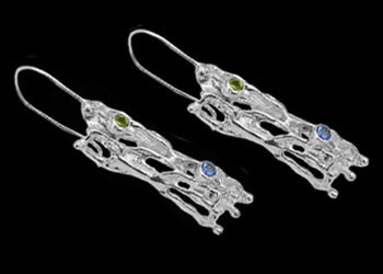 Peridot Topaz and Sterling Silver Earrings EV31tppr