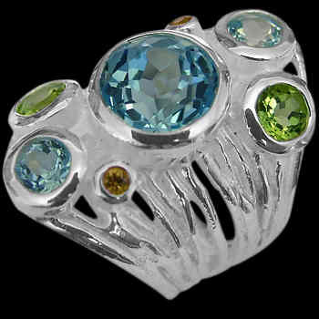 Peridot Topaz Citrine and .925 Sterling Silver Ring RV29