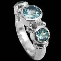 Round Topaz and .925 Sterling Silver Ring R577s