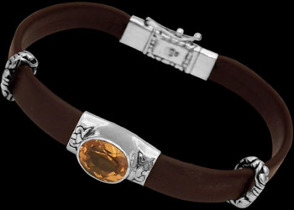Genuine Black Leather Citrine and Sterling Silver Bracelets LB4234CT