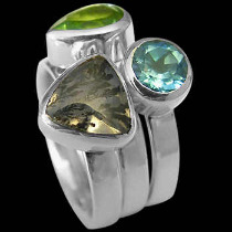 Womens Jewellery - Dietric Agate Peridot Topaz and Sterling Silver Rings R1148