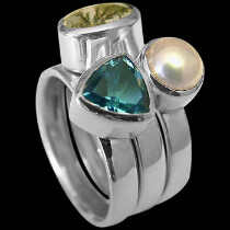 Womens Jewellery - Topaz Pearl Dietric Agate and Sterling Silver Rings R1148