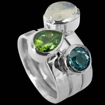 Rainbow Moonstone Peridot Topaz and Sterling Silver Rings R1148rmpr