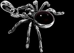 Gothic Jewelry - .925 Sterling Silver and Garnet Spider Pendants P259
