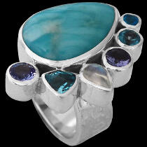 Larimar Tazanite Topaz Rainbow Moonstone Apatite and Sterling Silver Ring MR899tpl