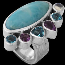 Larimar Amethyst Topaz Rainbow Moonstone and Sterling Silver Ring MR899lram
