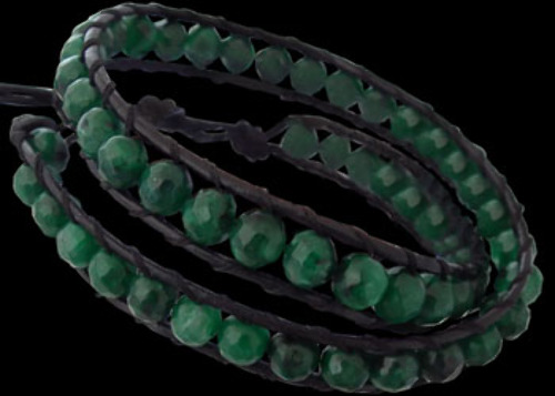 Genuine Black Leather and Faceted African Jade Gemstone Beaded Bracelets LSSB0020