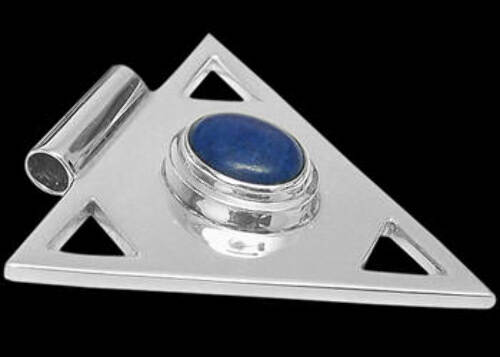 Grooms Jewelry - Lapis Lazuli and Sterling Silver Triangle Pendant MP097