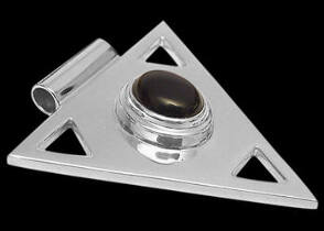 Onyx and Sterling Silver Triangle Pendant MP097