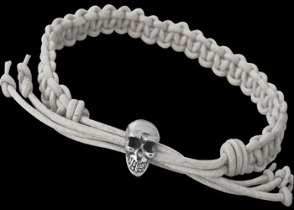 .925 Sterling Silver Skull Beads and White Leather Bracelets - Skull Beads ANIXI12