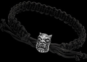 .925 Sterling Silver Wolf Beads and Black Leather Bracelets - Wolf Beads ANIXI12