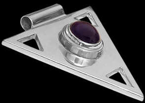 cabochon Amethyst and .925 Sterling Silver Triangle Pendant MP097