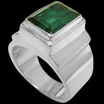Men's Jewelry - Green Quartz and .925 Sterling Silver Rings MR20Bgrqu - Polish Finish