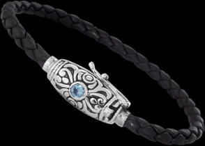 Genuine Black Leather Sky Blue Topaz and Sterling Silver Bracelets LB3643Bt