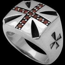 Religious Jewelry - Garnet  and .925 Sterling Silver Cross Rings R315