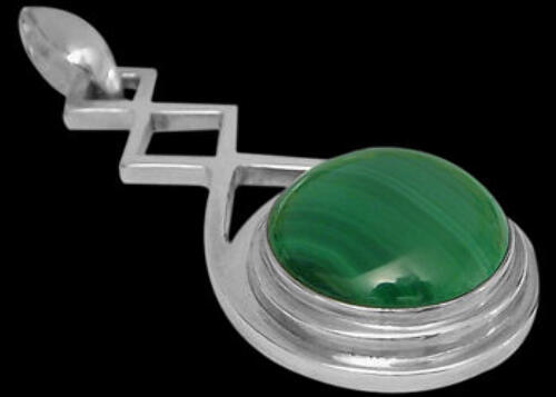 Celtic Jewelry - Malachite and Sterling Silver Pendants MP030MAL