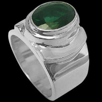 Men's Jewelry - Green Quartz and .925 Sterling Silver Rings MR026grn - Polish Finish