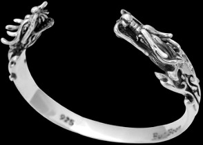 "Gothic Jewelry - .925 Sterling Silver ""The Protector"" Dragon Cuff Bracelets B333"