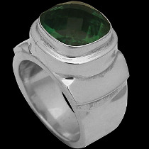 Men's Jewelry - Green Quartz and .925 Sterling Silver Rings MR20-4 - Polish Finish