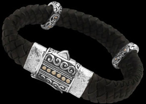 Genuine Black Leather 18K Gold and Sterling Silver Bracelets LB815BLK