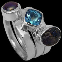 Womens Jewellery - Topaz Black Pearl Dieteric Agate and Sterling Silver Rings R1148