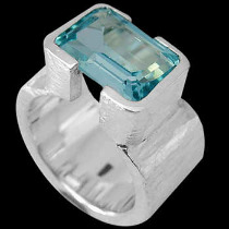 Men's Jewelry - Topaz and .925 Matt Sterling Silver Ring R358M