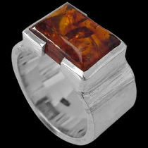 Men's Jewelry - Amber and Matt Sterling Silver Rings R358M - Matt Finish