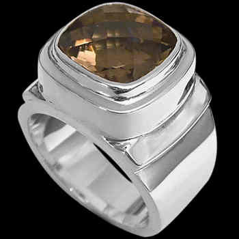 Men's Jewelry - Smokey Quartz and .925 Sterling Silver Rings MR20-4sm - Polish Finish