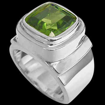 Men's Jewelry - Peridot and .925 Sterling Silver Rings MR20-4 - Polished Finish