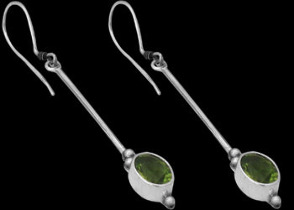 Peridot and Sterling Silver Earrings E026