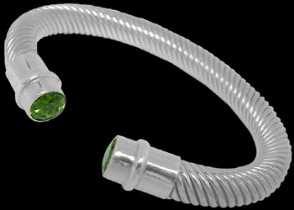 Plus Size Jewelry - Peridot and .925 Sterling Silver Cable Bracelets B789-10mm
