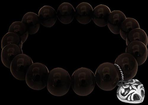 Black Onyx and .925 Sterling Silver Heart Pendant Bracelets B8119ON