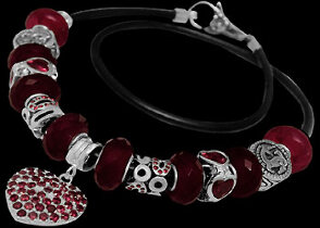 Leather Bracelets - Red Beads Red Cubic Zirconias .925 Sterling Silver Beads and Black Leather bracelet PB180