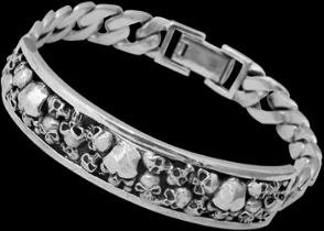 Gothic Jewelry - .925 Sterling Silver Skull Bracelet B339 - Ornate Security Clasp