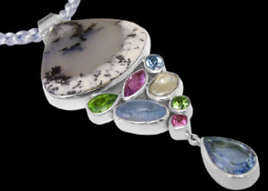 Montana Agate Blue Topaz Peridot Amethyst Pink Topaz Pearl and Sterling Silver Pendants PD-813