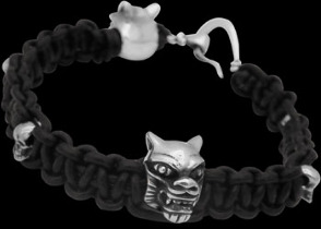 .925 Sterling Silver Wolf Skull Beads and Black Leather Bracelets - Wolf and Skull Beads ANIXI20B