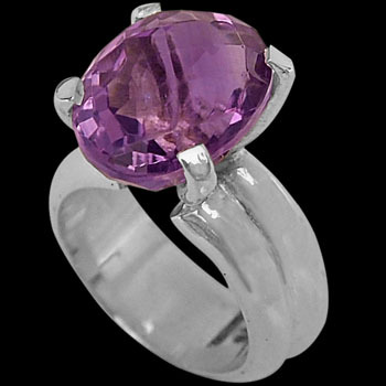Amethyst and Sterling Silver Rings R-624amy