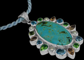 Turquoise Topaz Peridot Cherry Topaz Pearl and Sterling Silver Pendants PD-885