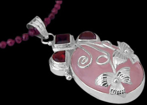Valentines Day Jewelry Gift - Garnet Rose Quartz and .925 Sterling Silver Necklace MN035